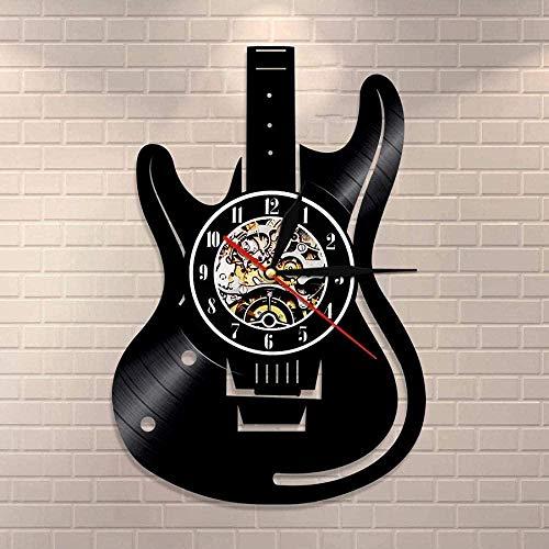 ZZLLL Guitarrista Retro Disco de Vinilo Reloj de Pared Amante de la música Rock Guitarra Reloj de Pared Estudio Colgante de Pared Art Deco Guitarrista Regalo -12 Pulgadas