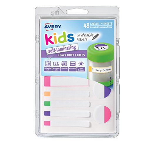 Avery Kids Self-Laminating Labels, Assorted, Pack of 48 (41434)