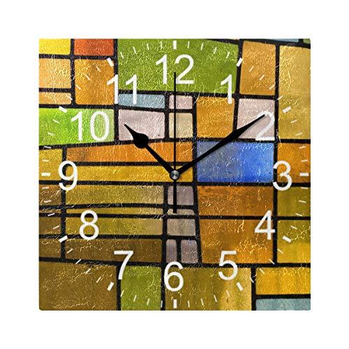 XiangHeFu Reloj de Pared, Cuadrado, 8 x 8 Pulgadas, vidrieras silenciosas, Decorativas para el hogar, la Escuela, la Oficina