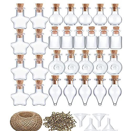 Kristy 50 botellas de deseos, mini botellas de vidrio, frascos de hechizo, con tapones de corcho y cuerda de cáñamo, para decoraciones de boda