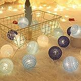 Guirnalda de Luces de Algodón, 3M Cadena de Luces para Algodón Bola, Guirnalda Luces con 20 Bolas de Algodón, Cadena de Luces LED Batería para Habitación Mesa Estante, Patio, Fiesta, Boda, Decoración