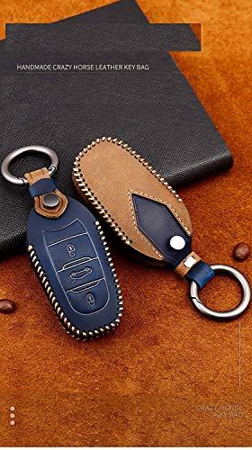 WASHULI Blocker-Hülle für Auto-Tasten Abdeckung für Peugeot 3008 4008 5008 Citroen C4 C4L C6 C3-XR-Zubehör Keychain ABlue (Color : Ablue)