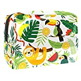 Bolsa de cosméticos para mujer, adorables bolsas de maquillaje impermeables y espaciosas para viajes, diseño de palma, perezoso, Toucan, pájaros, bolsa de aseo organizador de accesorios como regalo