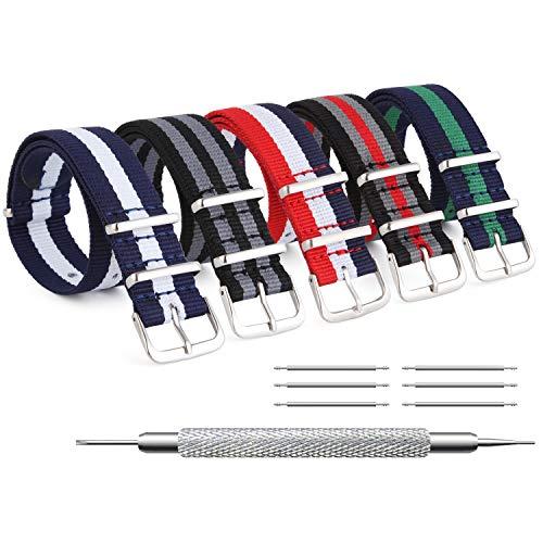 ZHUGE Unisex nylon cinturino orologio multicolor Balistico Cinturino Nato Cinturino in Nylon 5 pezzi multicolore 20mm