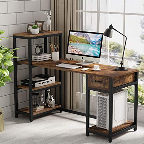 Tribesigns Computer Desk with 4-Tier Storage Shelves, 57 inch Large Rustic Office Desk PC Laptop Studying Writing Table Workstation with Drawer for Home Office (Rustic Brown)