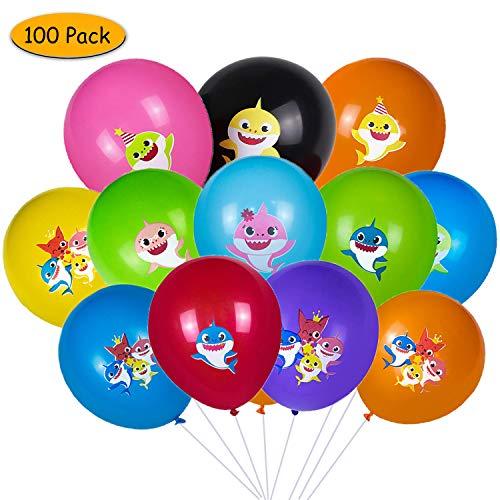 Globos de tiburón, Yisscen Suministros de decoraciones para fiestas de Baby Shark, Globos de látex de 100 piezas para la fiesta de cumpleaños de los niños/fiesta temática del océano (Multicolor)