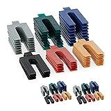Relaxdays Abstandshalter Kunststoff, 144er Set, Verglasungsklötze in 6 Größen, Distanzplättchen 1-6 mm Verschied. Farben