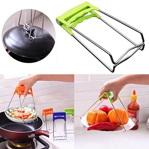 Transer Kitchen Plate Gripper, Stainless Steel Foldable Hot Dish Lifter and Retriever, Bowl Clip Pots Crockery Holder Clamp Tongs (Random Color)