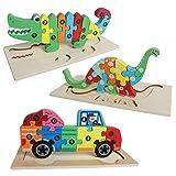 YIFKOKO 3D Tier Holzpuzzle für Kinder,3 Stück Holz Puzzle Montessori Spielzeug Tiere Spielen Holzspielzeug Lernspielzeug Pädagogisches Geschenk für Kleinkinder, Weihnachten und Geburtstag