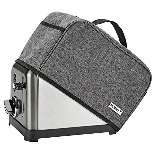HOMEST Toaster Dust Cover with Pockets Compatible with Cuisinart 2 Slice Toaster, Can Hold Jam Spreader Knife & Toaster Tongs, Dust and Fingerprint Protection, Grey