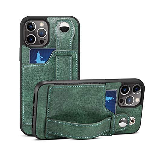 HHZY Funda para iPhone 12/12 Pro/12 Pro MAX Premium Cuero Billetera Carcasa con Tarjetero Estuche Pulsera Suave TPU Anti Choque Back Cover,Verde,12 Mini