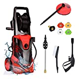 Goplus 3000PSI Electric Pressure Washer, Portable High Power Washer w/ 5 Nozzles, Hose Reel, Soap Bottle, 2 GPM 2000W (Red)