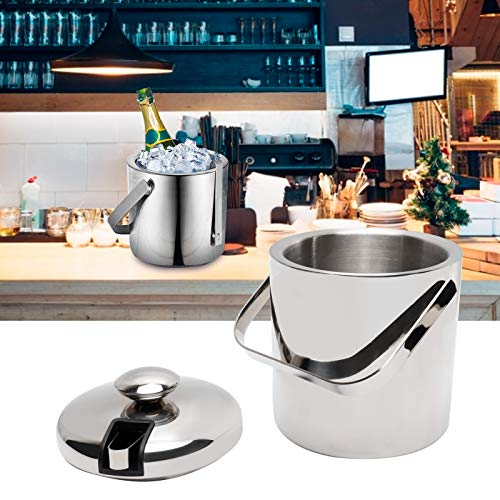 Ejoyous Cubo para Enfriador de Vino, Cubo para Hielo Diseño de Aislamiento de Doble Capa Cubo pequeño y portátil de Acero Inoxidable para Bares para restaurantes para Parrilla