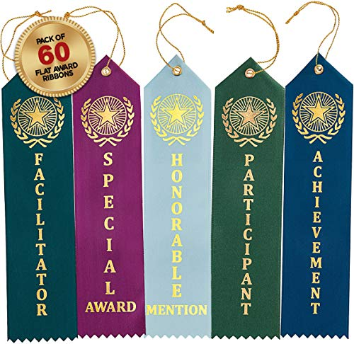 Clinch Star Award Ribbons Participant - Honorable Mention - Special Award - Achievement - Facilitator -Flat Carded (60 Pack) 12 of Each Set