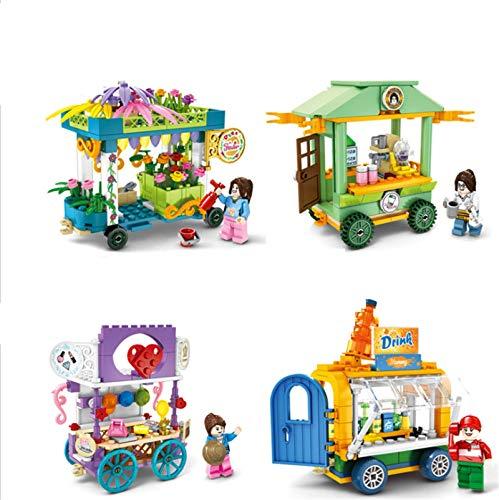 BAIDEFENG (4 Piezas) Micro Brick Street Modelo De Carro De Coche De Venta Móvil Nano Bloques Juguetes De Bricolaje Regalo para Niños