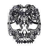 Fly Halbe Gesichtsmaske des Diamantball-Tigerkopf-Make-up Cosplay Stützmetallmetallganzes Gesichtsmaske Maske (Color : Black)