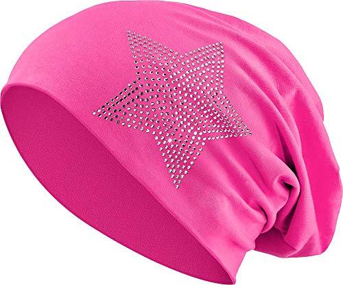 Jersey Baumwolle elastisches Long Slouch Beanie Unisex Herren Damen mit Strass Stern Steinen Mütze Heather in 35 (2) (Pink)
