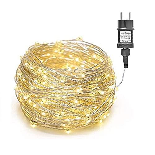 100/200/300er LED Mikro Silberdraht Lichterkette Strombetrieb Deko für Innen Außen Warmweiß gresonic (Warmweiß, 200LED)