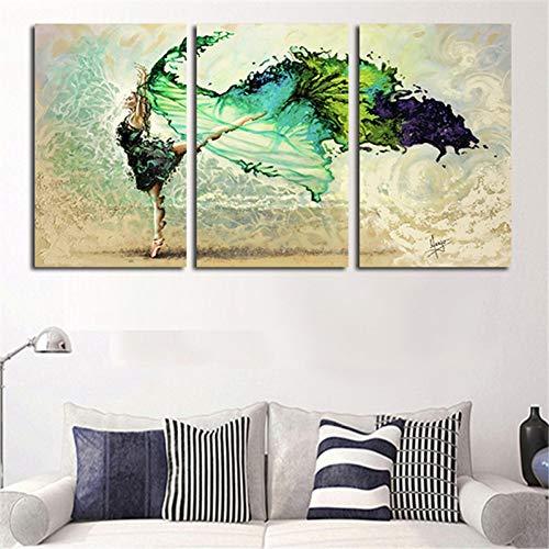 RHBNVR HD-druk canvas schilderij 3 panelen groene meisje vlinder vlieg moderne wand canvas schilderij kunst HD-druk canvas woonkamer huis decoratie