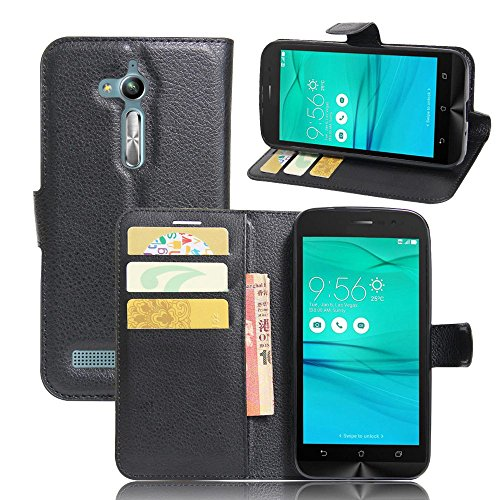 Ycloud Tasche für Asus ZenFone Go ZB500KL (5.0 Zoll) Hülle, PU Ledertasche Flip Cover Wallet Hülle Handyhülle mit Stand Function Credit Card Slots Bookstyle Purse Design schwarz
