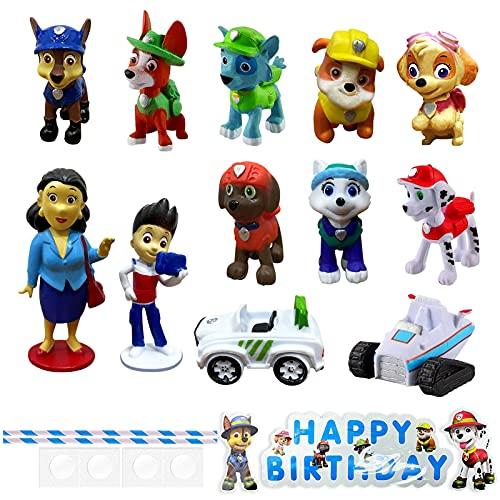 HONGECB Paw Patrol Adornos Decoración Tartas Infantiles Minifiguras Patrulla de Perros Cupcake Toppers, Dibujos Animados De Tartas Para Fiestas, Diy Paw Tema Decoración De Tartas