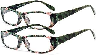 Inlefen Readers 2 Pack Ultra-light plastic full frame Spring Hinged Rectangular Reading Glasses Comfort Eyeglasses