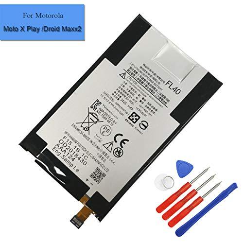 Batteria di ricambio ai polimeri di litio FL40, compatibile con cellulare Motorola Moto X Play, Droid Maxx 2, Moto X 3a, XT1560, XT1561, XT1562, XT1563, SNN5963B