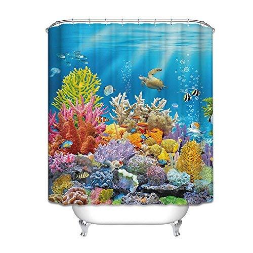 Umweltschutz Duschvorhang, Kreative ozeanblau duschvorhang Wasserdicht Mold Shading Bad Duschvorhang Bad Kreative Duschvorhang (Größe: 200 * 180 cm)