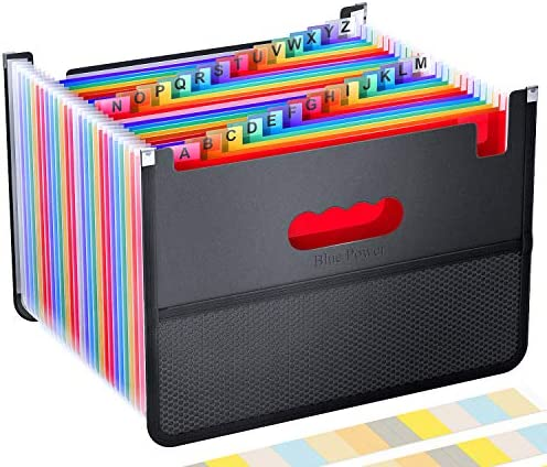 26 Pockets Accordian File Organizer Expanding Filing Box with Mesh Bag Accordion File Folders product image