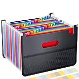 BluePower Carpeta Clasificadora Extensible Archivador Acordeon con 26 Bolsillos,A4 Carpetas de Documentos Maletín Archivador,Organizador de Archivos con bolsa de malla con 26 Pestañas Personalizables.