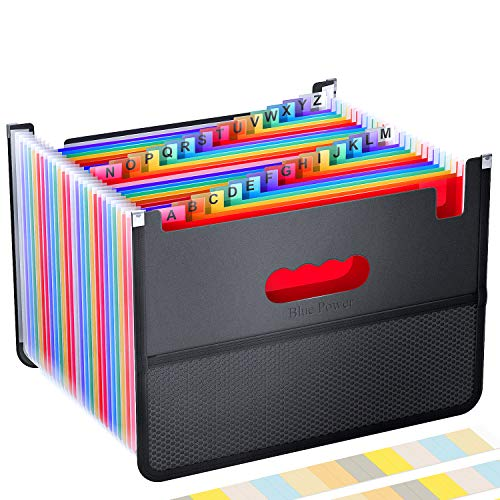 26 Pockets Accordian File Organizer,Expanding Filing Box with Mesh Bag,Accordion File Folders Expandable Cover,Portable Paper/Bill/Receipt/Document Organizer with 3 A-Z Alphabet Tabs(A4/Letter Size )