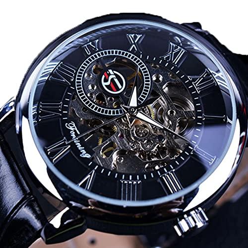 Excellent Reloj para Hombre Mecánico de Lujo Acero Inoxidable Skeleton Automático Mecánico Mecánico Reloj Muñeca Reloj de Cuero Casual,A02