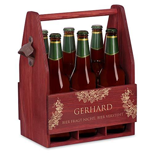 Murrano Bierträger für 6 Flaschen 0,5L + Gravur - Männerhandtasche mit Flaschenöffner - Größe: 25x17x32cm - aus Holz - Geburtstagsgeschenk für Männer (Bier versteht)