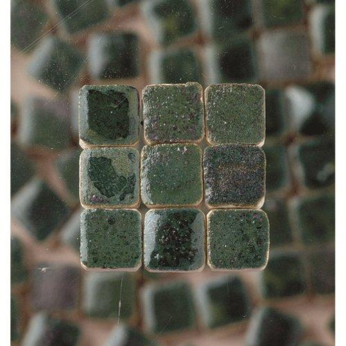 MosaicMicros 5 x 5 x 3 mm, 10 g, Confezione da 100 Pezzi, in Ceramica Smaltata, Mini mattonelle a Mosaico, Colore: Verde