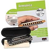 CASCHA Harmonica set pour apprendre, l'harmonica en do majeur diatonique, livre en espagnol, étui et drap d'entretien, idéal pour débutants et adultes