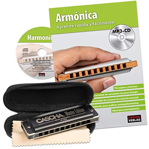 cascha Armónica de aprendizaje Juego Incluye Armónica diatónica en C de alta calidad, principiantes Escuela Española, Case y cuidado, ideal para principiantes y adulto.