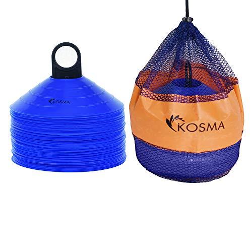 Kosma set da 50 pezzi Set di coni marker spaziali | Coni per allenamento agilità - Colore: blu