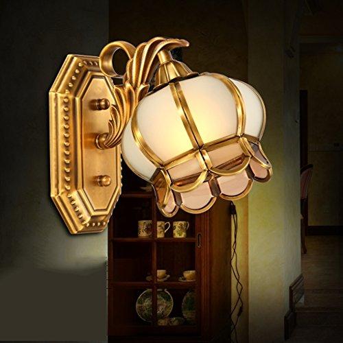 Ali Europäische Wandleuchte Vollkupfer Spiegel vorne Lampe Wohnzimmer Beleuchtung warm Nachttisch Laterne Guan Guan Beleuchtung