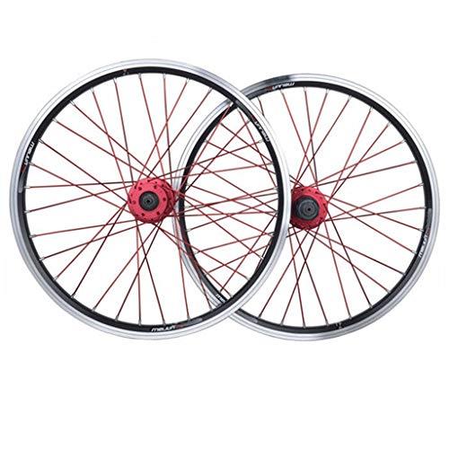MZPWJD Ciclismo Ruedas BMX Juego Ruedas Bicicleta 20' para Bicicleta Plegable Llanta Doble Pared Freno Disco/V Centro Tarjetas 10 Velocidades QR (Color : Black)