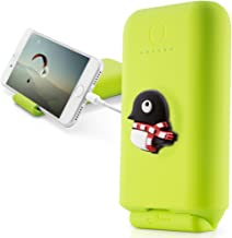 Bone Collection 10050mAh Portable Charger Power Bank w/Phone Stand, 2-Port 3.1A USB External Battery Pack for iPhone iPad Smartphone Tablet, Power 10050 - Green/Maru Penguin