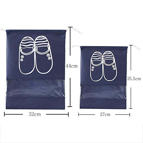 MZP Chaussures sac de voyage chaussure sac cordonnet chaussures poussière sac de cordon de serrage 10 monté guêtres finition sac à chaussures , navy 5