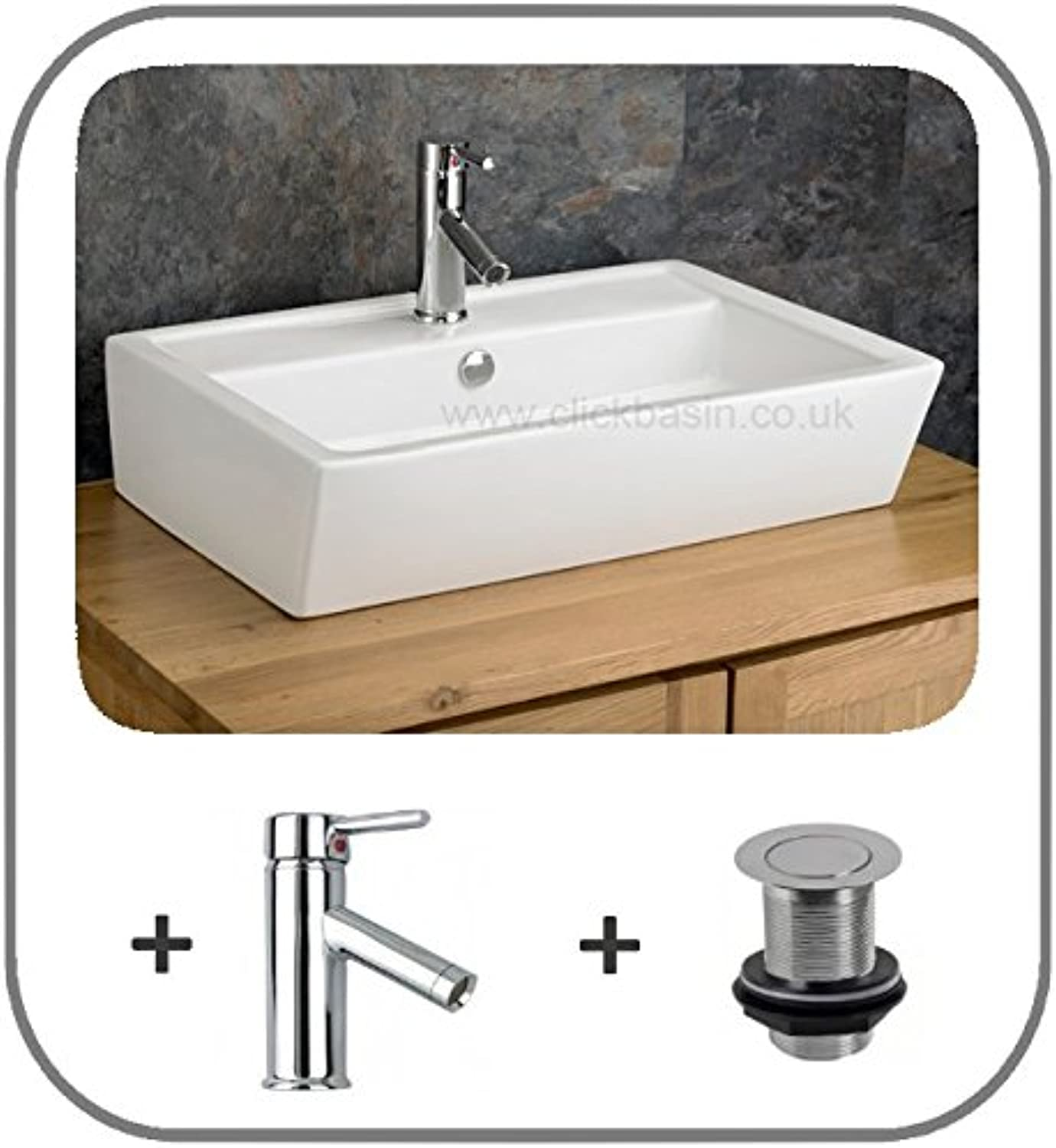 Clickbasin Cremona 63cm X 43.5cm Large Rectangular Basin With Solo Mixer Tap And Push Click Waste