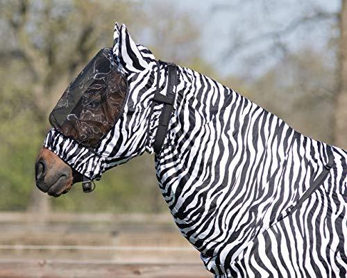 QHP Vliegen Ekzemer beschermend masker met groot fijnmazig net, verschillende maten en kleuren, Medium, zebra