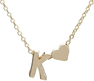 Gold Plated Stainless Steel Necklace Pendant for Women Mom Jewelry Gift for Mother Heart A-Z Letter Charms Gift