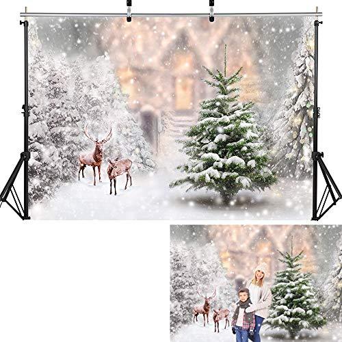 Fondo de fotografía Navidad Nieve Árboles de Navidad Campo de Nieve Telón de Fondo Bosque de Invierno Cumpleaños Sesión fotográfica artística A10 7x5ft / 2.1x1.5m