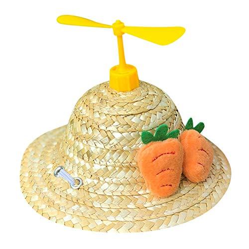 Savlot hoed voor huisdieren, decoratie van dieren, strohoed, voor katten, honden, fotografie, libellen van bamboe, Geel.