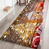 LHWY Weihnachtsteppich Deko Frohe Weihnachten Willkommen Fußmatten Indoor Home Carpets Decor 60x180CM (P, 60cm x 180cm)