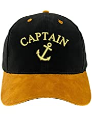 4sold Capitán Gorro Gorra Capitán Ancient Mariner, Capitán Cabin Boy Crew First Mate Yachting béisbol Gorro con Texto Oro Army Military Gorra Security Captain Talla única