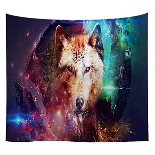 mmzki Lannidaa Tiere Wolf Tapisserie Schwarz Hängende Wand Tuch Tapisserie Wohnheim Zimmer Kunst Hintergrund Dekor Psychedelic Camping Teppich 26 150x230cm