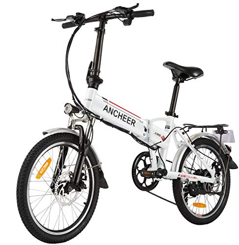 ANCHEER Folding Electric Bike Ebike, 20'' Electric Bicycle with 36V 8Ah Removable Lithium-Ion Battery, 250W Motor and Professional 7 Speed Gear(4-12days Shipping)